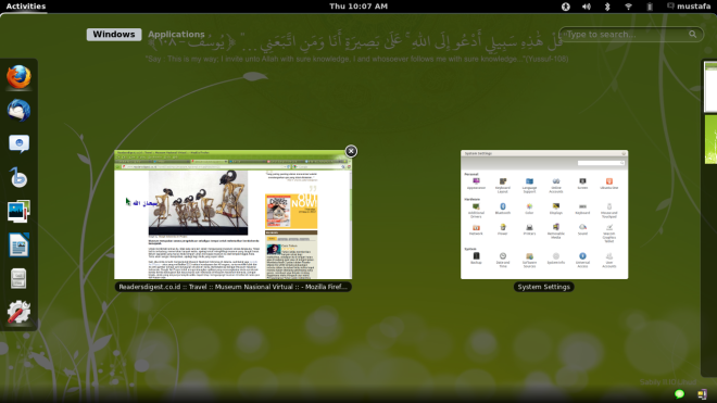 Sabily Uhud 11.10 on Lenovo X100e