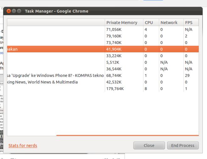 Task Manager on Google Chrome