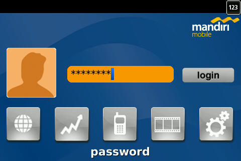 Login Screen Mandiri Mobile Apps for Blackberry