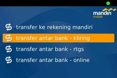 Tranfer Main Menu on Mandiri Mobile Apps