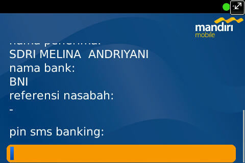 Tranfer to other Bank (BNI) on Mandiri Mobile Apps