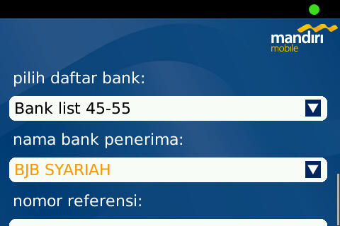 55 online bank on Mandiri Mobile Tranfer Menu