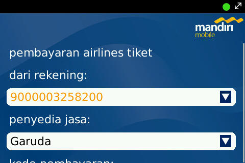 Airline Payment on Mandiri Mobile Apps