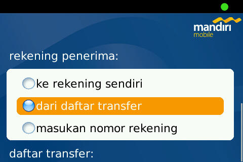 Transfer to recent account on Mandiri Mobile Apps