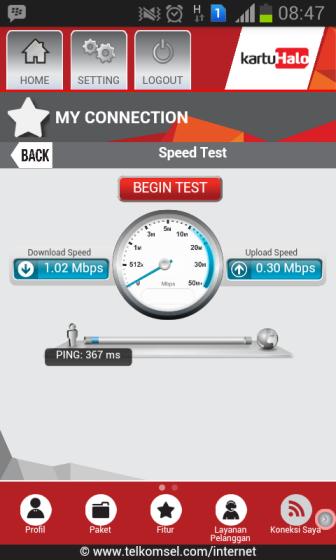 Average Speed of Telkomsel Flash on my Samsung Galaxy Core