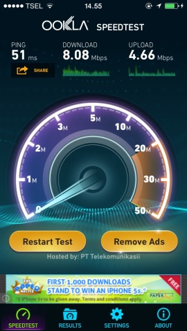 Speedtest on Wifi.id network