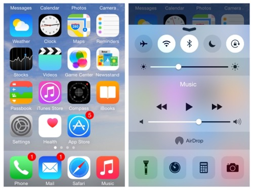Home Screen iOS 8 on iPhone 5s