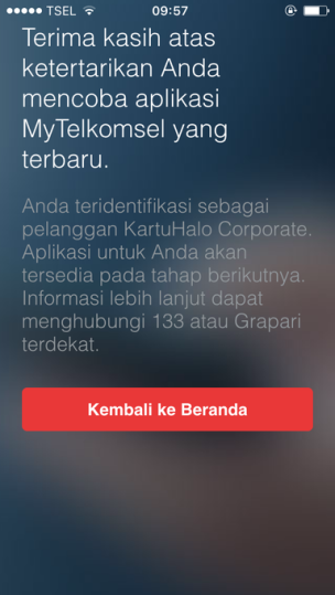My Telkomsel 3.0 Corporate User Not Supported