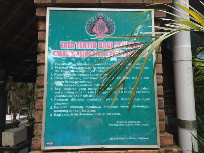 Tata Tertib Bagi Peziarah Makam Ki Ageng Giring III Desa Sodo
