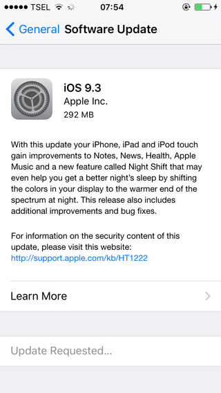 update iOS 9.3 di iPhone 5s 16 GB