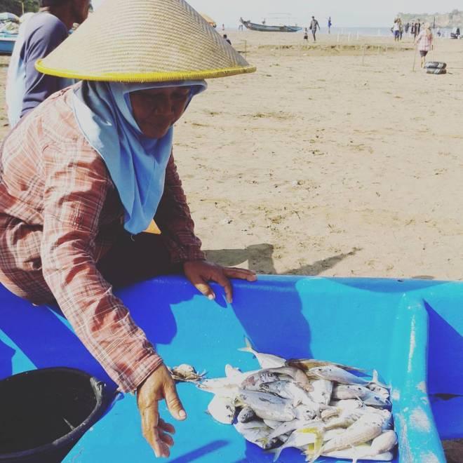 Tankapan Ikan Nelayan Pantai Baron Gunungkidul. Foto oleh Tina Latief