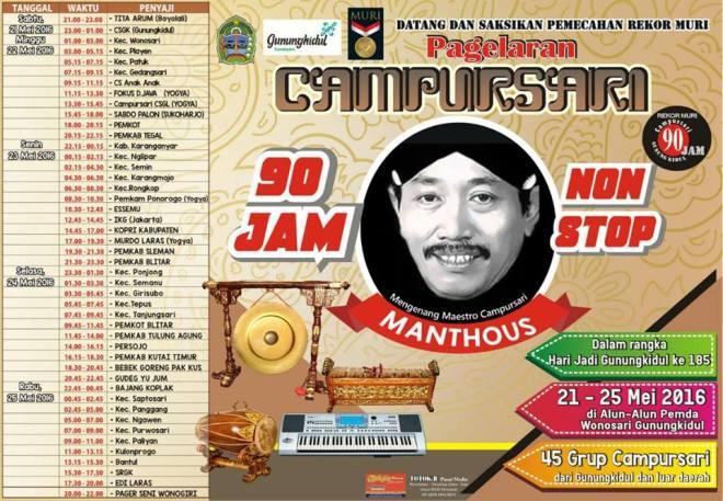Daftar Grup Campursari dalam Pagelaran Campursari 90 Jam Nonstop di Gunungkidul