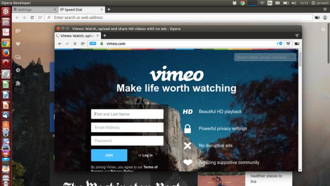 Buka Vimeo Dengan Opera Developer 39.0