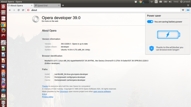 Power Saving di Opera Developer 39.0