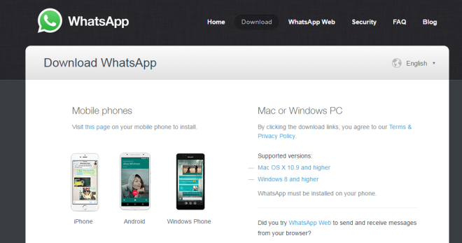 Whatsapp for PC and Mac download