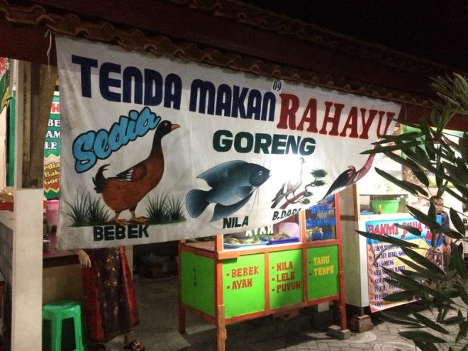 Taman Kuliner Wonosari Gunungkidul: Tenda Makan Rahayu Sedia Bebek Goreng, Burung Dara Goreng dan Nila Goreng