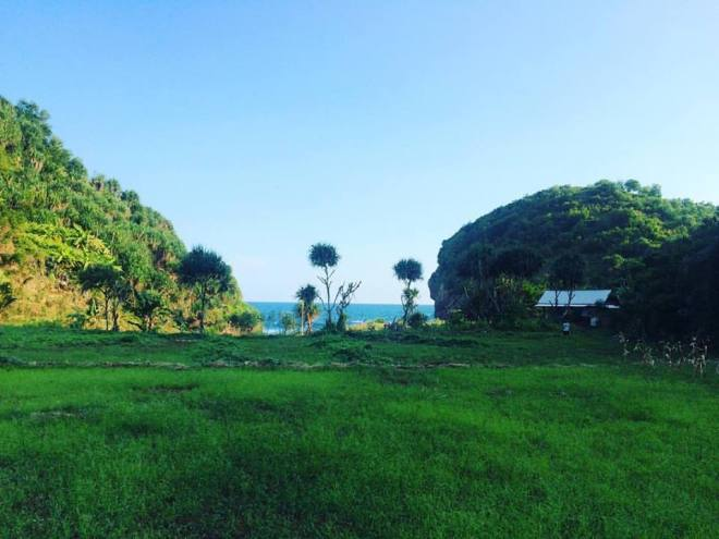 Padang Rumput Kecil Terapit Bukit Bersebelahan dengan Pantai Kayu Arum Kanigoro Gunungkidul